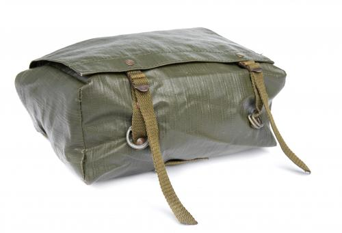 Czech M85 Shoulder Bag, surplus. The flap is securely closed with steel buckles. Two pairs of D-rings also in the bottom.