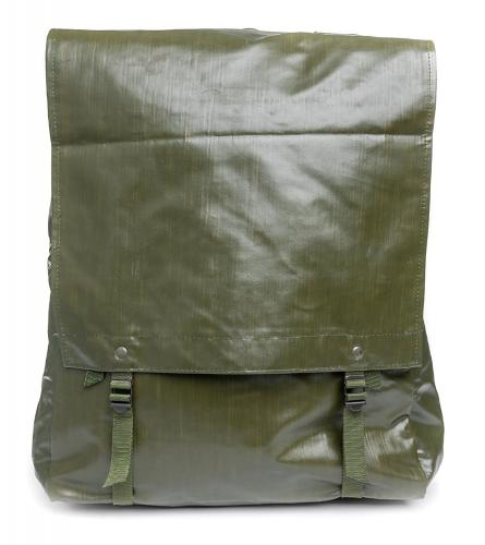 Czech M85 vinyl rucksack, surplus. The lid fastened to the lower buckles.