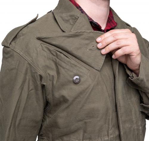 Dutch Field Jacket, Olive Green, surplus. The chest pockets are biased to the sides and heavily angled.