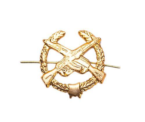 Soviet collar branch insignia, metal, crossed Kalashnikovs, surplus