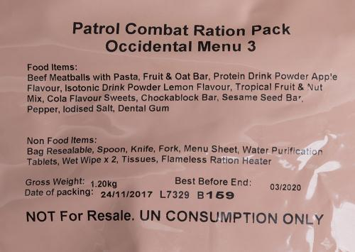 British 12h field ration pack, surplus.