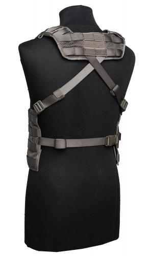 Swedish SVS 12 Combat Vest With Pouches, Green, surplus. The long T-bar can be used to close the rear without a belt. You can choose the strap height.