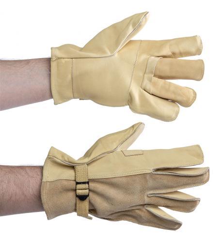 US D3A leather gloves, beige, surplus