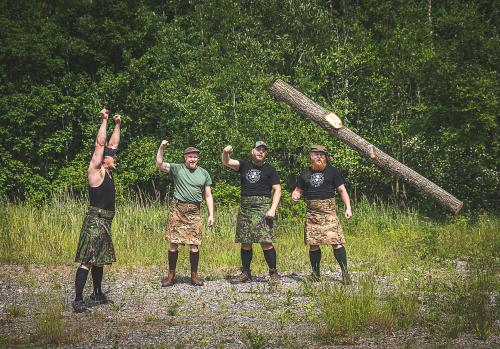 Jämä Kilt.  We started training for the new Nordic Games with the children's caber.