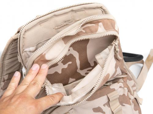 Czech Daypack with Hydration Bladder, Desert Vz95, Surplus. There is a handy small pocket at the top of the pack.