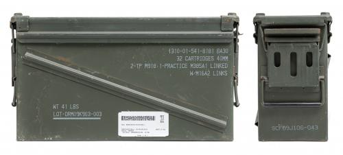 US Ammunition Box, 40 mm, Surplus. The text on the lid may vary.