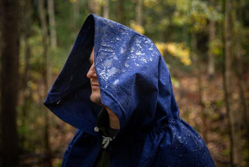 Romanian Plash-palatka Rain Cape/Shelter Half, Blue, Surplus.
