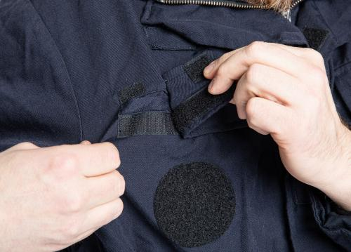 Dutch Field Jacket w. Membrane, Blue, Surplus. Opening for the antenna of the radio.