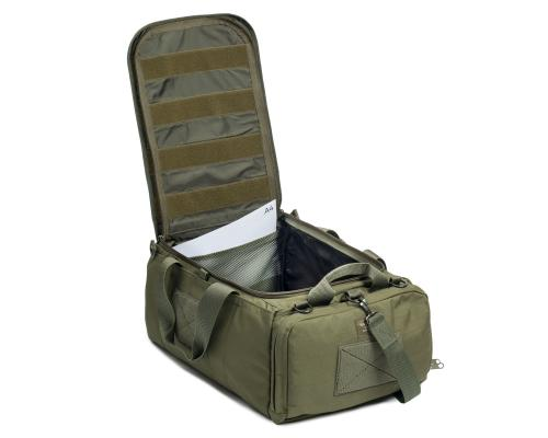 Savotta Keikka 50L Duffel Bag. Mesh pockets inside main compartment and loop base on the lid.