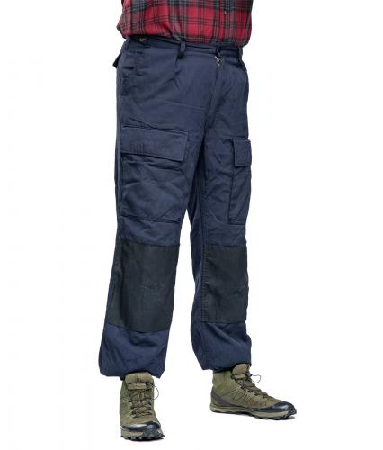 Dutch Navy Mission Pants, Navy Blue, Surplus. The model in the picture is 183 cm tall and weighs 92 kg. His waist is a bit under 100 cm. He is wearing the size 55 pants.