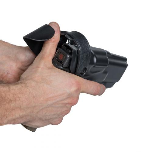 Safariland 6360 ALS/SLS Mid-Ride L3 Pistol Holster, Glock 17/22. Unlocking is quick and easy for the user.