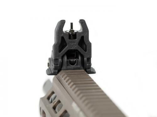 Magpul MBUS Sight, Front. Simple and solid elevation adjustment with detent.