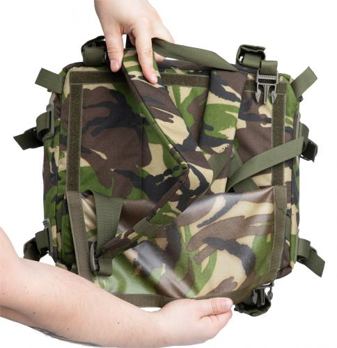Romanian Combat Rucksack with Daypack, DPM, Surplus, Unissued. You can hide the shoulder straps of the daypack under a hook and loop panel.