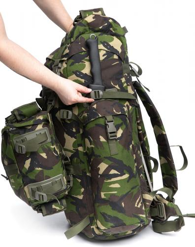 Romanian Combat Rucksack with Daypack, DPM, Surplus, Unissued. You can attach something longer under the right side pouch.