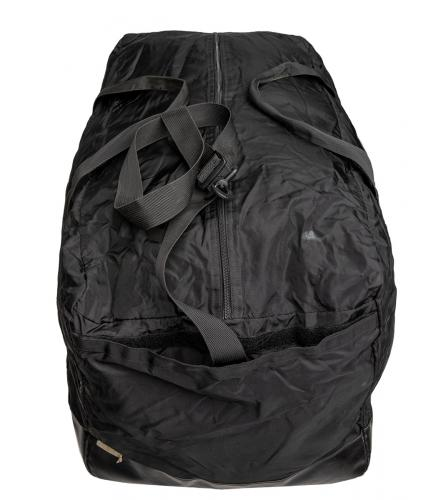 French Duffel Bag, 115 l, Black, Surplus. Shoulder strap can be hidden in velcro-pocket when it's not used