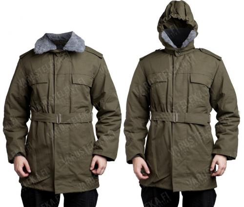 Czech parka with liner, olive green, surplus. The hood can be raised up along with the teddy collar if you're really in trouble.