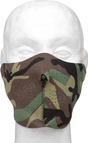 Mil-Tec half-mask, neoprene, black/Woodland