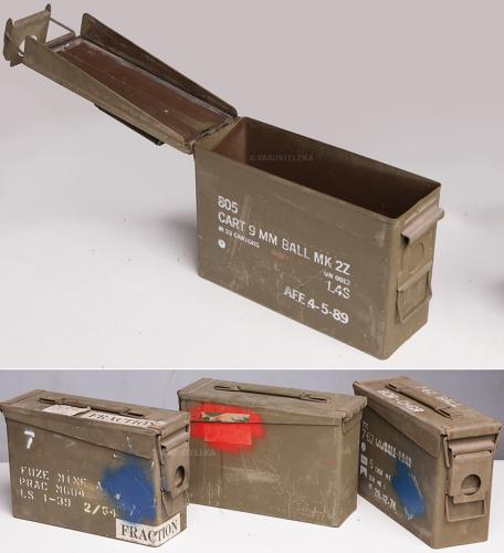 US ammunition box, .30 cal, surplus. The general appearance may vary from box to box.