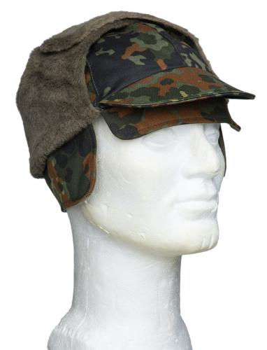 BW field cap, cold weather, Flecktarn, surplus. An additional flap can be flipped down