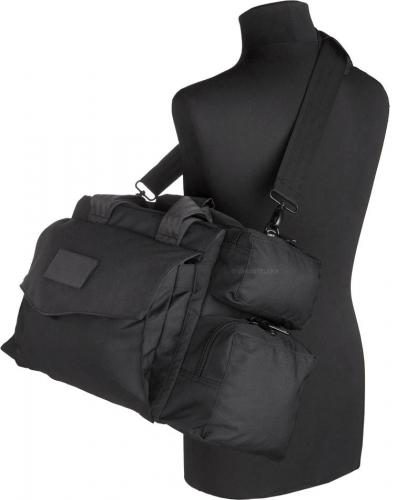 Mil-Tec equipment bag, black. The strap is adjustable and removable.