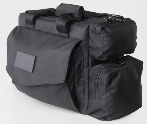 Mil-Tec equipment bag, black. Here's the large side pocket and the zippered end compartments.