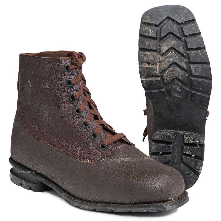 91cc1189771 Swedish combat boots, rubber and leather, brown, surplus