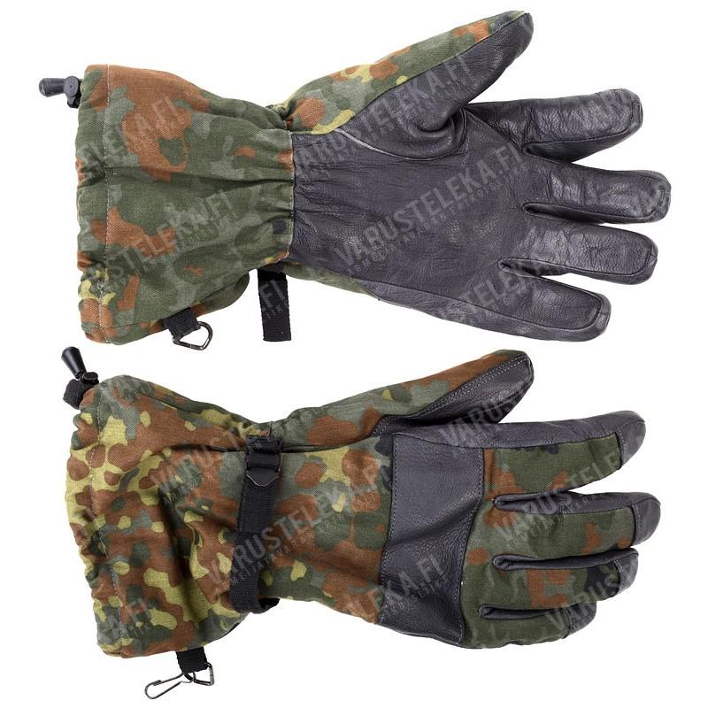 Winter Surplus Fleece Lined Gloves Military German Army Flecktarn Camo Mittens